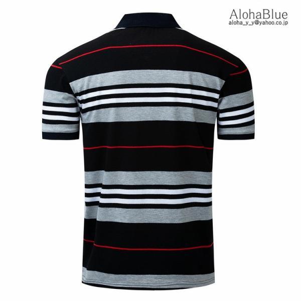 ボーダーポロシャツ メンズ Tシャツ ポロ ゴルフウェア ポロシャツ POLO ボーダー柄 半袖 100%コットン 父の日 40代 50代 60代 ファッション|aloha0118|05