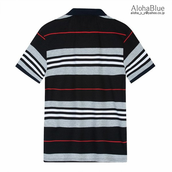 ボーダーポロシャツ メンズ Tシャツ ポロ ゴルフウェア ポロシャツ POLO ボーダー柄 半袖 100%コットン 父の日 40代 50代 60代 ファッション|aloha0118|07