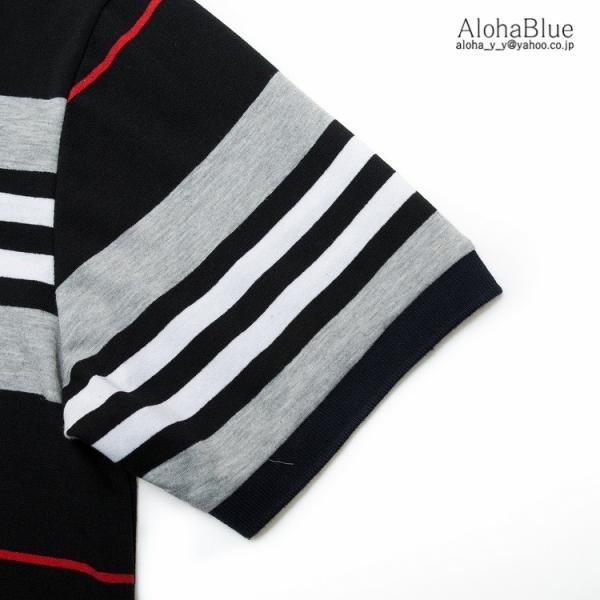 ボーダーポロシャツ メンズ Tシャツ ポロ ゴルフウェア ポロシャツ POLO ボーダー柄 半袖 100%コットン 父の日 40代 50代 60代 ファッション|aloha0118|09