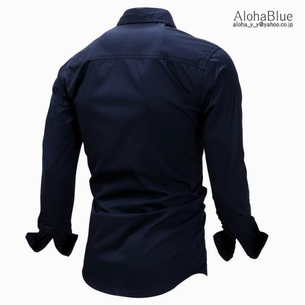 シャツ メンズ ミリタリーシャツ ワークシャツ ミリタリーファッション カジュアルシャツ 長袖 トップス 綿 アウトドア 父の日|aloha0118|06