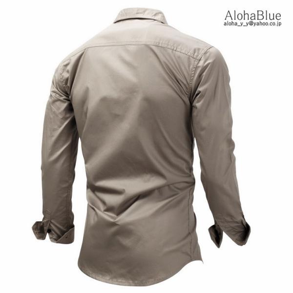 シャツ メンズ ミリタリーシャツ ワークシャツ ミリタリーファッション カジュアルシャツ 長袖 トップス 綿 アウトドア 父の日|aloha0118|09