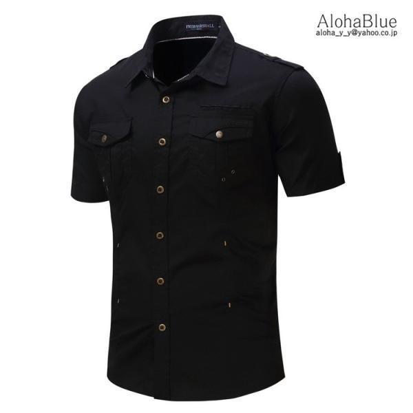 ミリタリーシャツ メンズ 半袖 シャツ カジュアルシャツ ワークシャツ アウトドア 登山 夏物 2019|aloha0118|11