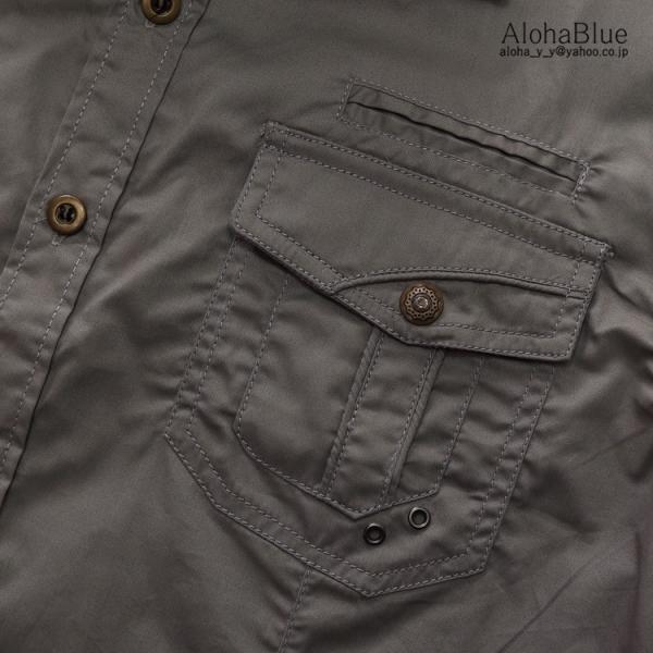 ミリタリーシャツ メンズ 半袖 シャツ カジュアルシャツ ワークシャツ アウトドア 登山 夏物 2019|aloha0118|15