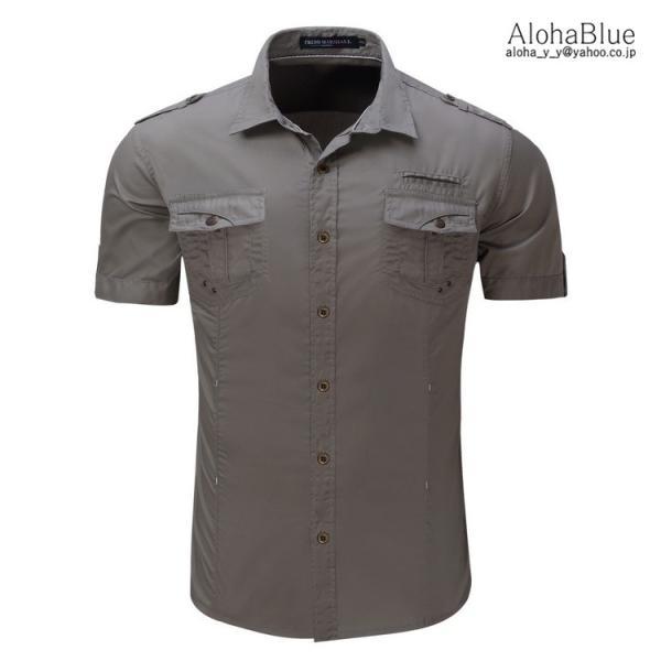 ミリタリーシャツ メンズ 半袖 シャツ カジュアルシャツ ワークシャツ アウトドア 登山 夏物 2019|aloha0118|04