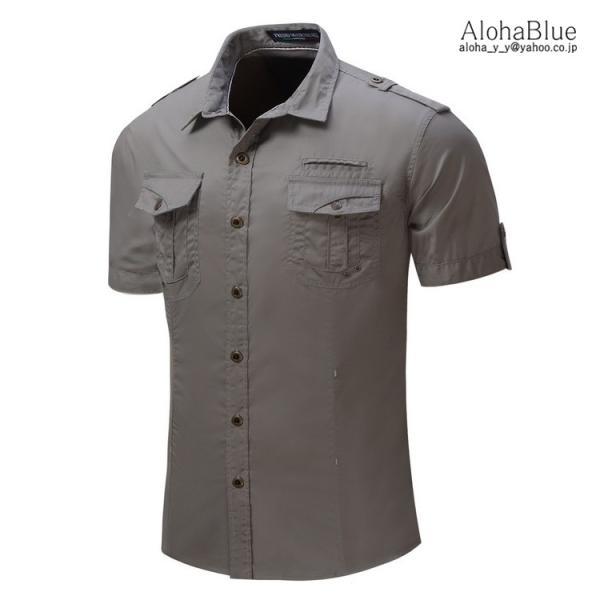 ミリタリーシャツ メンズ 半袖 シャツ カジュアルシャツ ワークシャツ アウトドア 登山 夏物 2019|aloha0118|05