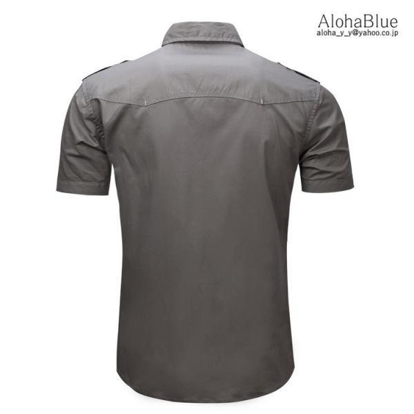 ミリタリーシャツ メンズ 半袖 シャツ カジュアルシャツ ワークシャツ アウトドア 登山 夏物 2019|aloha0118|06