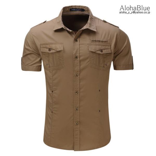ミリタリーシャツ メンズ 半袖 シャツ カジュアルシャツ ワークシャツ アウトドア 登山 夏物 2019|aloha0118|07