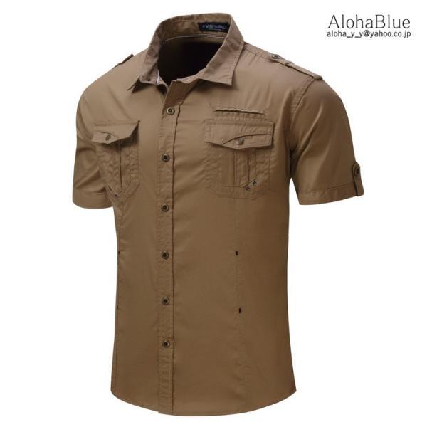 ミリタリーシャツ メンズ 半袖 シャツ カジュアルシャツ ワークシャツ アウトドア 登山 夏物 2019|aloha0118|08