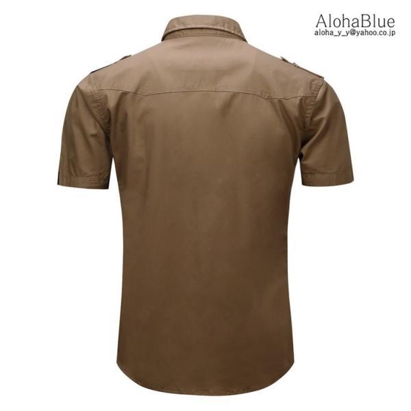 ミリタリーシャツ メンズ 半袖 シャツ カジュアルシャツ ワークシャツ アウトドア 登山 夏物 2019|aloha0118|09