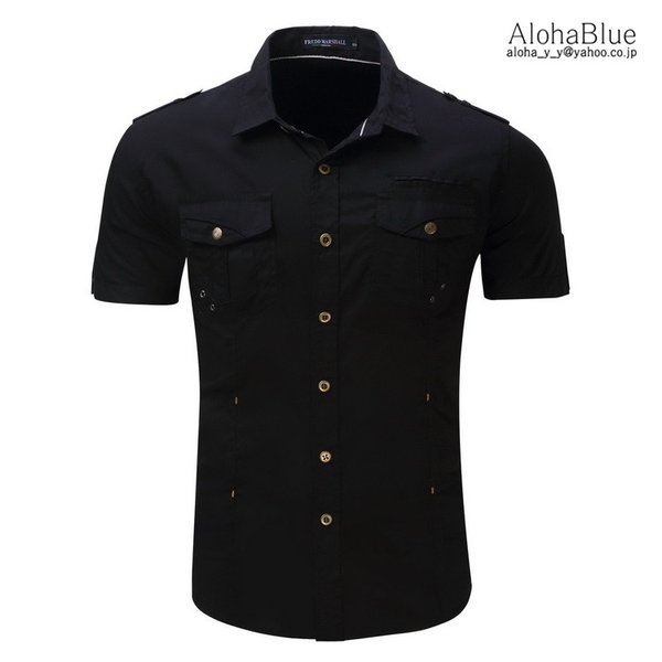ミリタリーシャツ メンズ 半袖 シャツ カジュアルシャツ ワークシャツ アウトドア 登山 夏物 2019|aloha0118|10