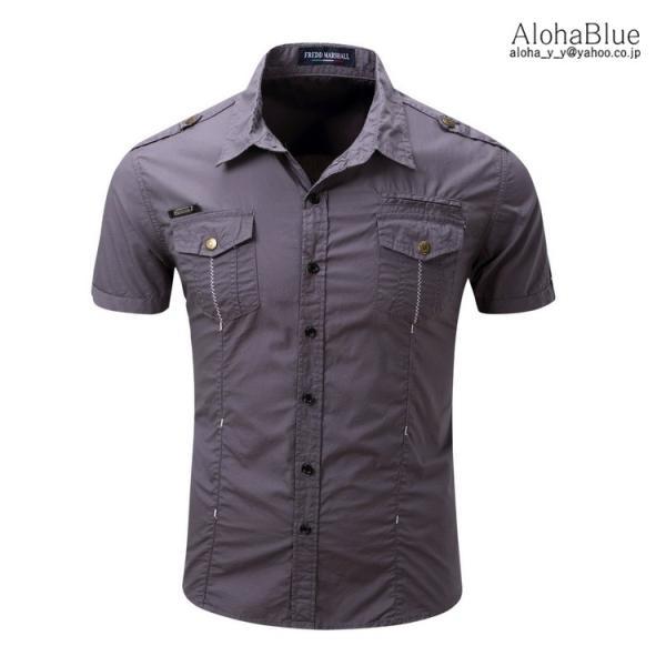 シャツ メンズ 半ミリタリーシャツ 袖 ワークシャツ カジュアルシャツ トップス アウトドア ミリタリー父の日|aloha0118|13