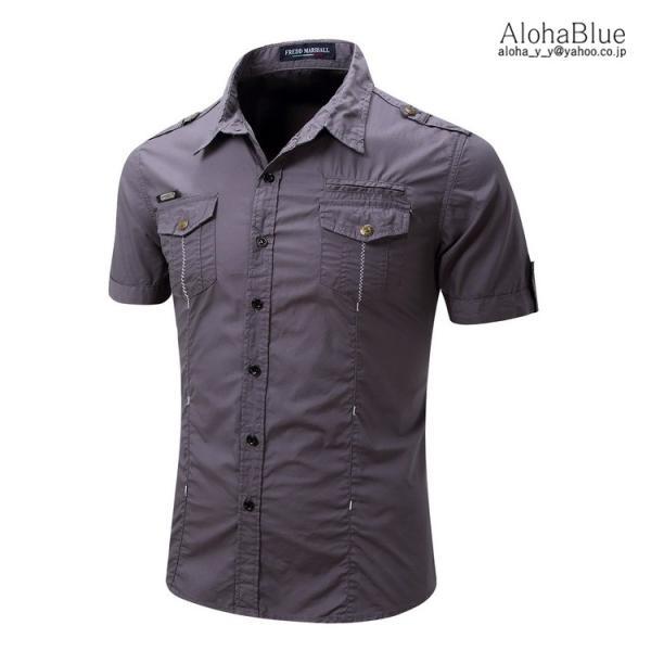 シャツ メンズ 半ミリタリーシャツ 袖 ワークシャツ カジュアルシャツ トップス アウトドア ミリタリー父の日|aloha0118|14