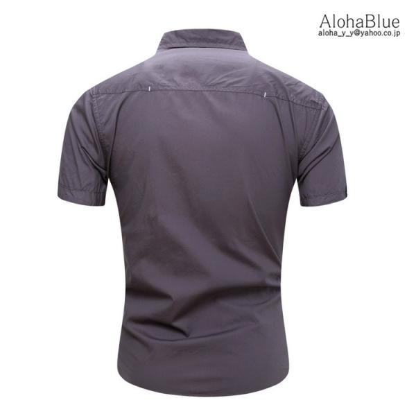 シャツ メンズ 半ミリタリーシャツ 袖 ワークシャツ カジュアルシャツ トップス アウトドア ミリタリー父の日|aloha0118|15