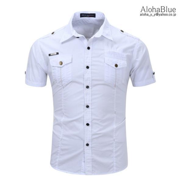 シャツ メンズ 半ミリタリーシャツ 袖 ワークシャツ カジュアルシャツ トップス アウトドア ミリタリー父の日|aloha0118|04