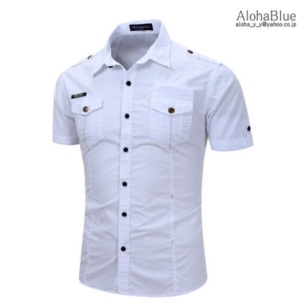 シャツ メンズ 半ミリタリーシャツ 袖 ワークシャツ カジュアルシャツ トップス アウトドア ミリタリー父の日|aloha0118|05