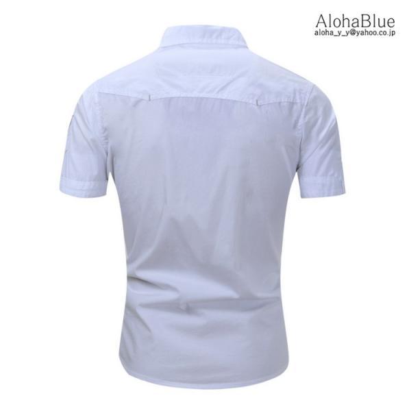 シャツ メンズ 半ミリタリーシャツ 袖 ワークシャツ カジュアルシャツ トップス アウトドア ミリタリー父の日|aloha0118|06