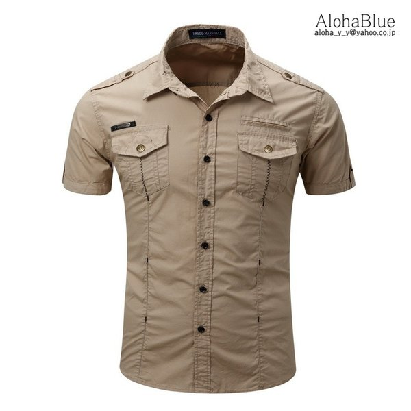 シャツ メンズ 半ミリタリーシャツ 袖 ワークシャツ カジュアルシャツ トップス アウトドア ミリタリー父の日|aloha0118|07