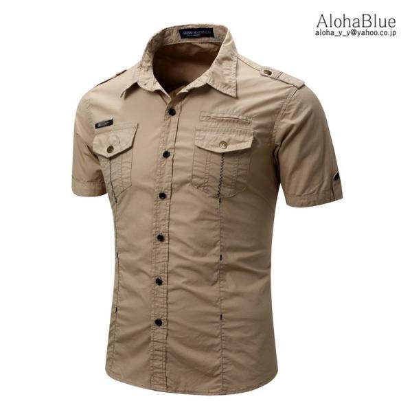 シャツ メンズ 半ミリタリーシャツ 袖 ワークシャツ カジュアルシャツ トップス アウトドア ミリタリー父の日|aloha0118|08