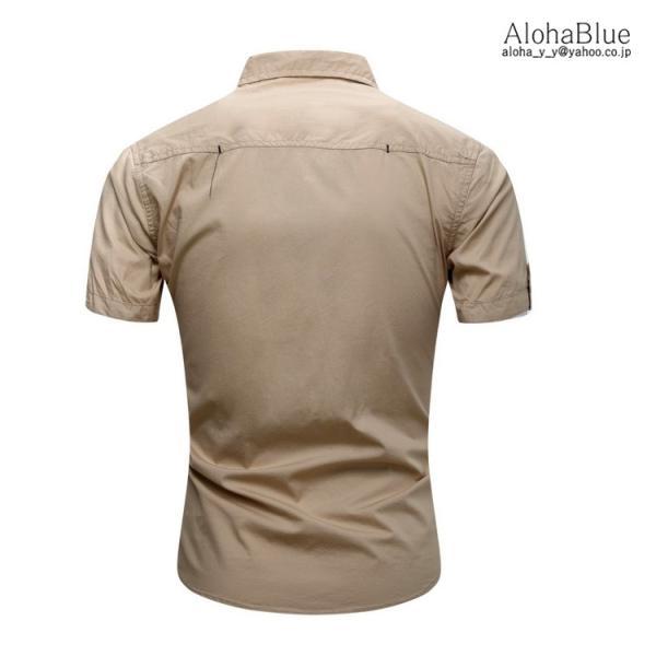 シャツ メンズ 半ミリタリーシャツ 袖 ワークシャツ カジュアルシャツ トップス アウトドア ミリタリー父の日|aloha0118|09
