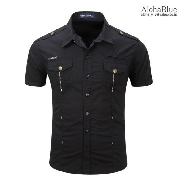 シャツ メンズ 半ミリタリーシャツ 袖 ワークシャツ カジュアルシャツ トップス アウトドア ミリタリー父の日|aloha0118|10