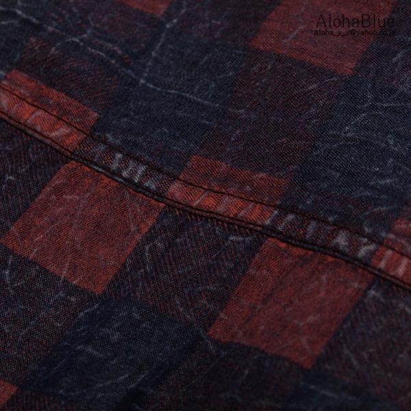 シャツ メンズ ダンガリーシャツ 半袖 カジュアルシャツ ぼかしチェック柄 ヴィンテージ風 ウォッシュ ダンガリー トップス ゆったり 父の日|aloha0118|17