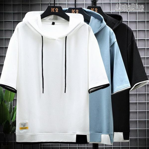 パーカー メンズ 半袖パーカー プルオーバー トップス フード付きtシャツ 100%コットン 半袖 サマーパーカー 夏物