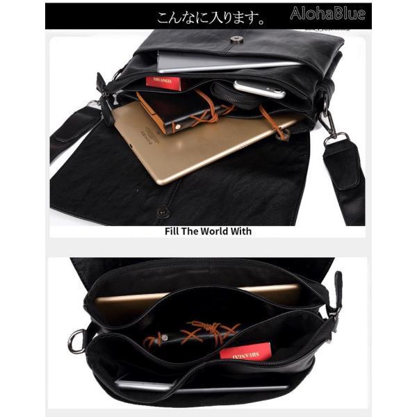 メッセンジャーバッグ メンズ ショルダーバッグ 大きめ A4 カバン バッグ 蓋付き ビジネスバッグ 斜めがけバッグ 通学 通勤 多収納 2019 新生活 aloha0118 09