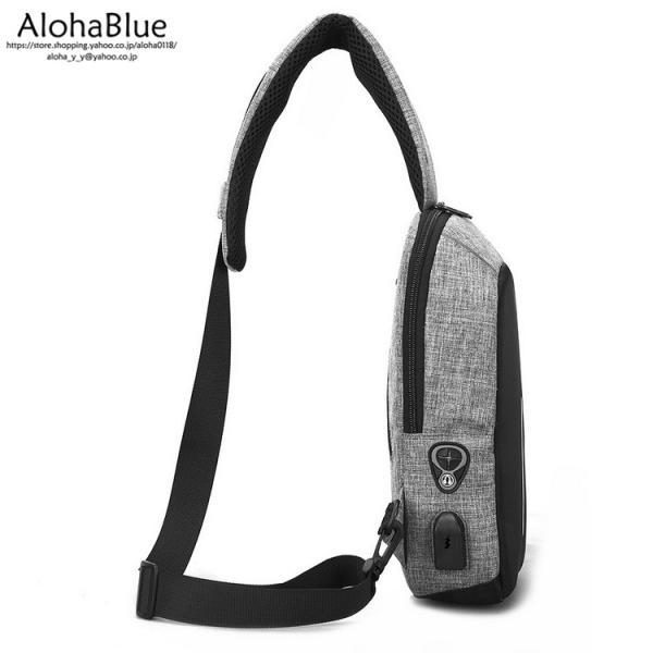 ボディバッグ メンズ バッグ 鞄 ボディバック 斜め掛け カバン 人気 かばん 機能性 USB充電ポート イヤホンポート お出かけ 2019 新生活 aloha0118 15