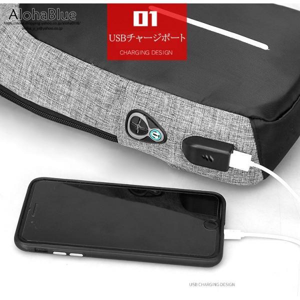 ボディバッグ メンズ バッグ 鞄 ボディバック 斜め掛け カバン 人気 かばん 機能性 USB充電ポート イヤホンポート お出かけ 2019 新生活 aloha0118 06