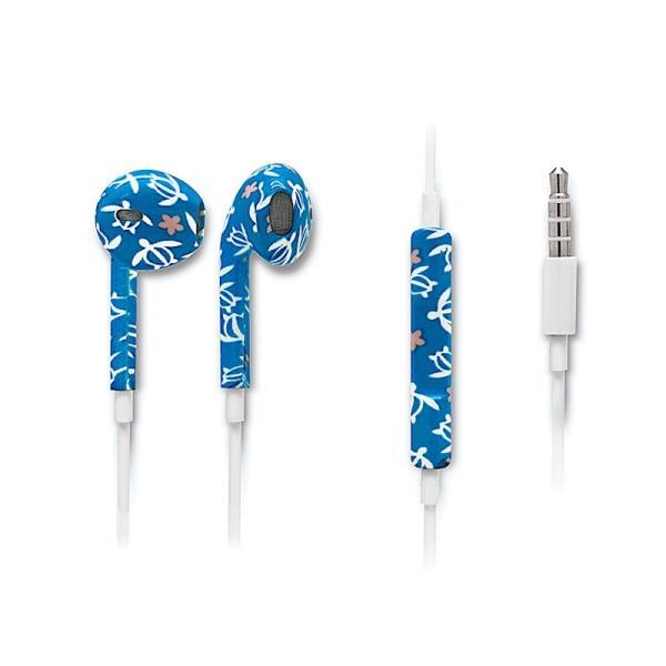 ハワイ イヤホン マイク付 EAR BUDS with microphone スマートフォン パソコン Honu Floral ホヌフローラル