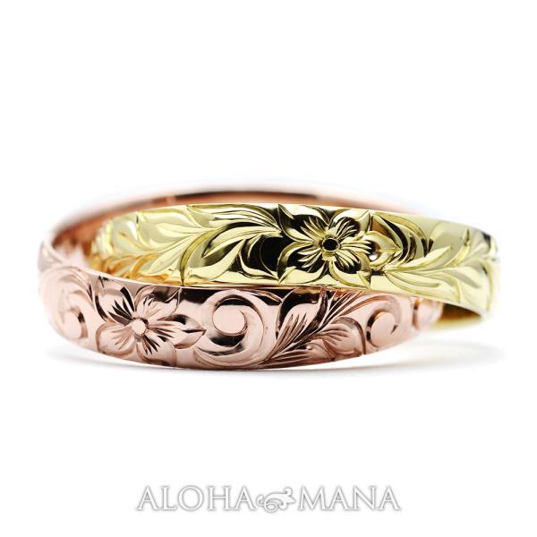 ハワイアンジュエリー 結婚指輪 マリッジリング Weliana ONLY ONE 二連カットアウト ゴールドリングcdr056