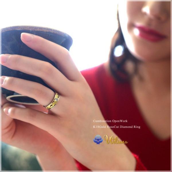 ハワイアンジュエリー 指輪リング weliana コンビネーション ローズカット ダイヤモンド 18金/K18 18kイエロー ホワイト ゴールド レディース 女性 wri1363/新作