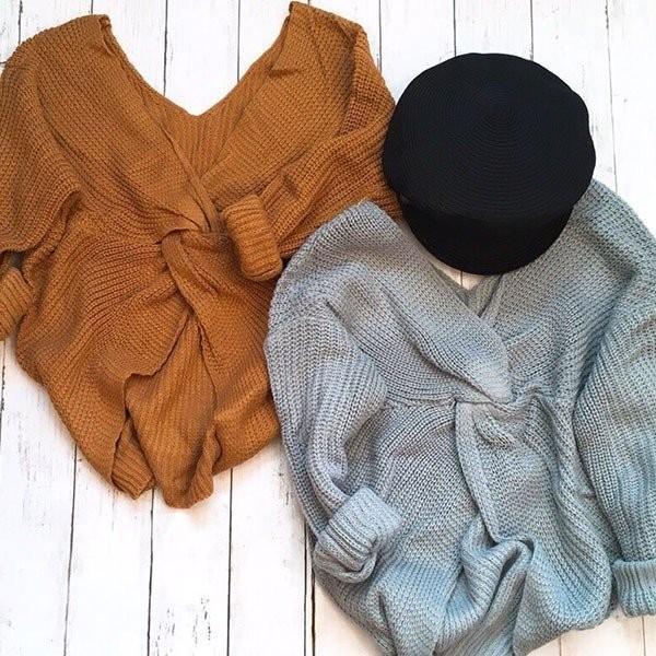 女性ディープvネック背中の開きセーター可逆長袖結び目セクシーニットトップス BD18-O031
