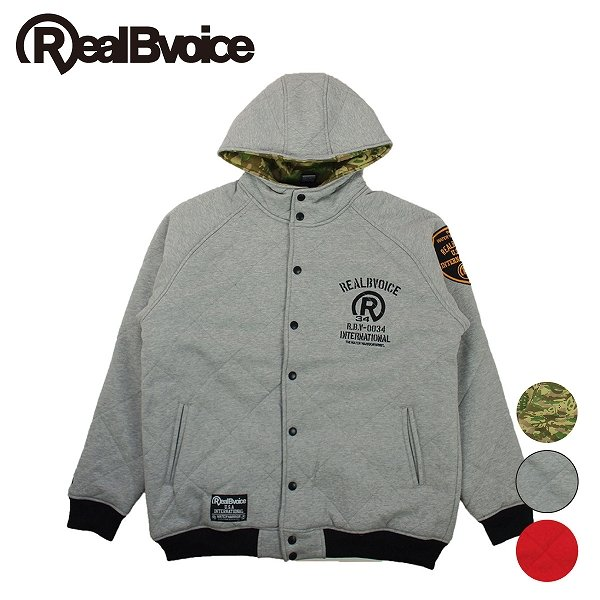 リアルビーボイス キルティングスナップジャケット メンズ SWEAT QUILTING JACKET RealBvoice 10051-10139