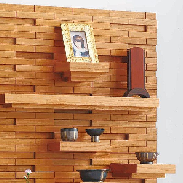 壁掛けタイプ 仏壇 薄型 幅60 奥行21.9 高さ108.2 天然木 チェリー 棚板 自由設計 高級感 仏具 現代仏壇 八木研 クラウド ライト 送料無料 ALTAR|altar|02