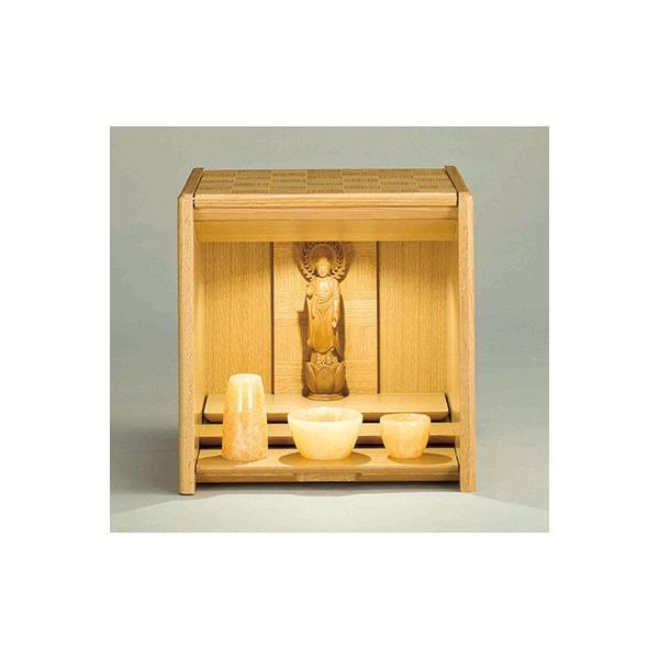 コンパクト仏壇 キューボ 幅34.2cm 高さ34.5cm 天然木ナラ 市松模様 LED照明 現代仏壇 モダン仏壇 手元供養 送料無料 日本製 ALTAR セール|altar|03