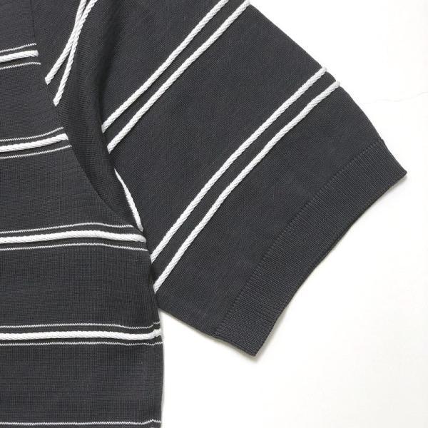 TOMORROWLAND トゥモローランド メンズ ロープストライプ ニットTシャツ|altasotto|07