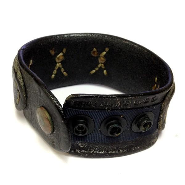 ジービービー カスタムレザー gbb Custom Leather ヴィンテージ レザー シルバー スカル ブレスレット Dbl Layer Bone Skull Sewn gbb-dbl-sterling-B
