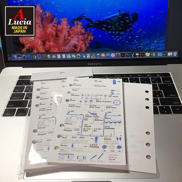 ログブック 6穴タイプ 40枚 40ダイブ゛分 ナイトロックス対応 ログブックレフィル ブルー×ブラック dive-011|alucia|02