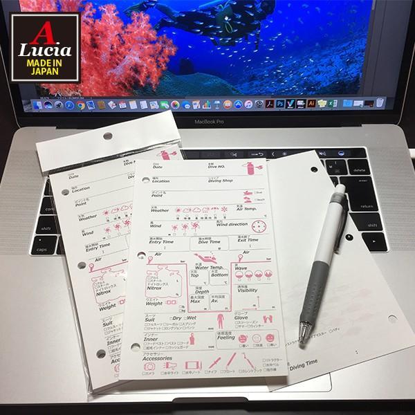 ログブック 3穴タイプ PADIバインダー規格 40枚 40ダイブ゛分 ナイトロックス対応 ログブックレフィル ピンク×ブラック dive-102|alucia|02