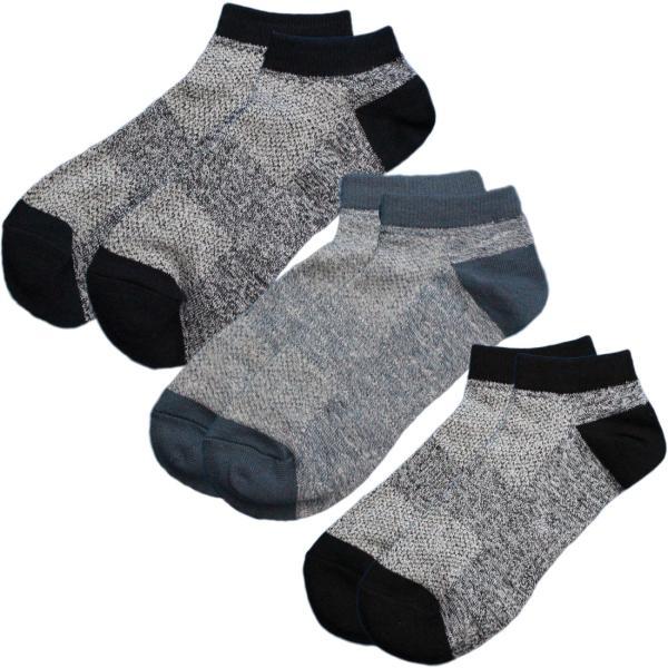 靴下 メンズ  ショート 銀イオン消臭 つま先カカトにAg-Max使用 軍足 メッシュで蒸れない快適な履き心地 くるぶし丈 先丸3色3足 24.5〜27cm AG721|aluck|06
