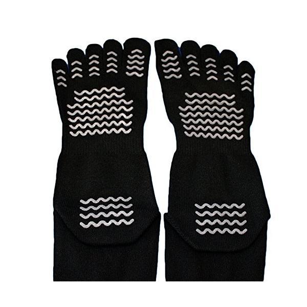 踏ん張りがきく滑り止め付のびのび五本指靴下 黒3足組メンズソックス24.5〜27cm かかと、つま先補強糸 軍足 615R|aluck|04