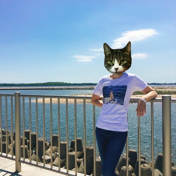 魚待ち ネコTシャツ XS〜Lサイズ 白 ホワイト  釣り トラ猫 メンズ レディース|amaneko|02