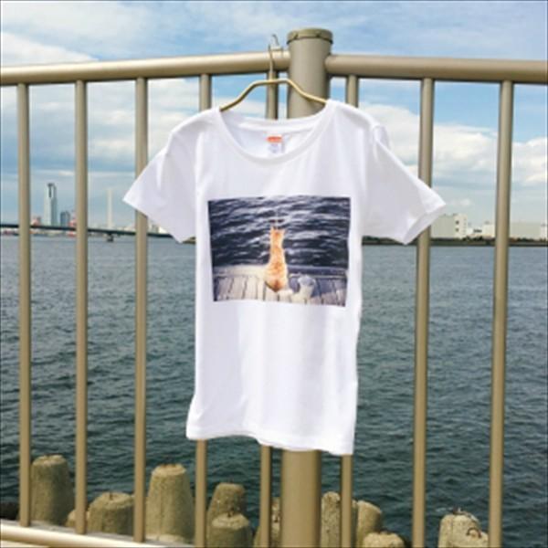 魚待ち ネコTシャツ XS〜Lサイズ 白 ホワイト  釣り トラ猫 メンズ レディース|amaneko|03