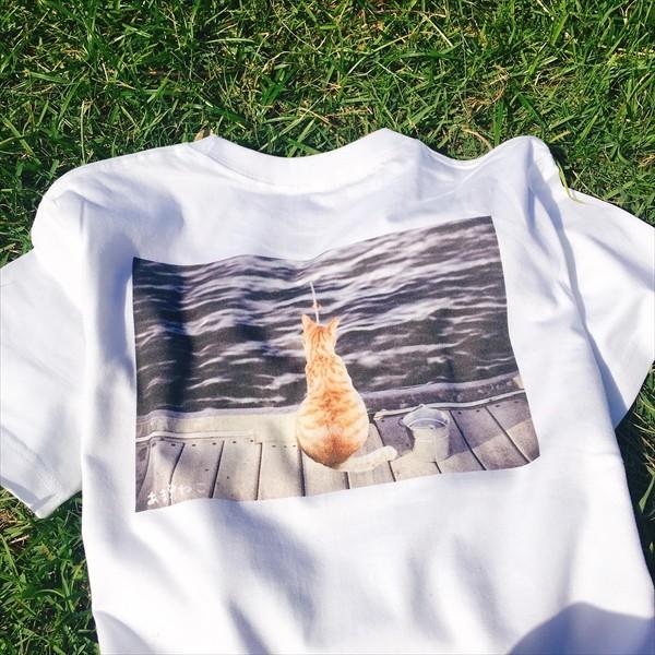 魚待ち ネコTシャツ XS〜Lサイズ 白 ホワイト  釣り トラ猫 メンズ レディース|amaneko|05