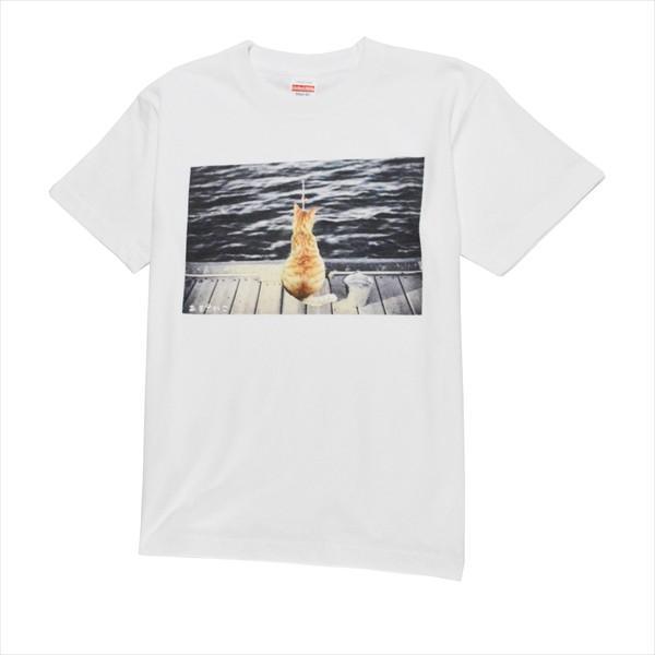 魚待ち ネコTシャツ XS〜Lサイズ 白 ホワイト  釣り トラ猫 メンズ レディース|amaneko|07