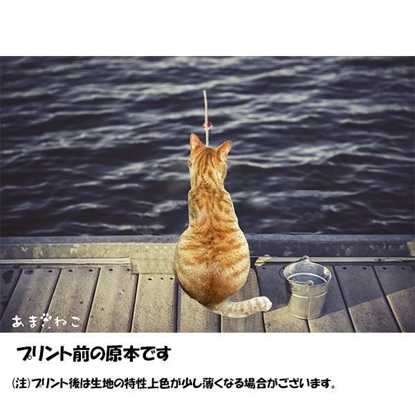 魚待ち ネコTシャツ XS〜Lサイズ 白 ホワイト  釣り トラ猫 メンズ レディース|amaneko|08