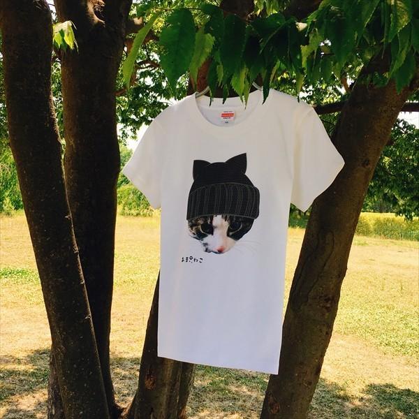 ニット帽 ネコTシャツ XS〜Lサイズ 白 ホワイト トラ猫 メンズ レディース カワイイ ユニーク|amaneko|02