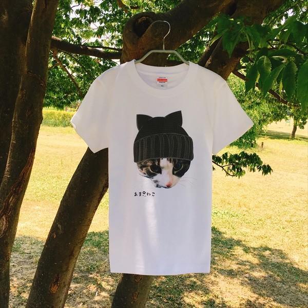 ニット帽 ネコTシャツ XS〜Lサイズ 白 ホワイト トラ猫 メンズ レディース カワイイ ユニーク|amaneko|03