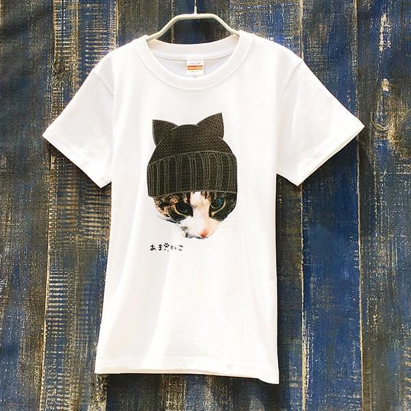 ニット帽 ネコTシャツ XS〜Lサイズ 白 ホワイト トラ猫 メンズ レディース カワイイ ユニーク|amaneko|07